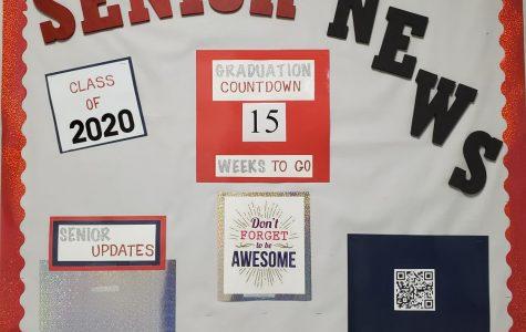 Bulletin board of Senior News for the Senior class.