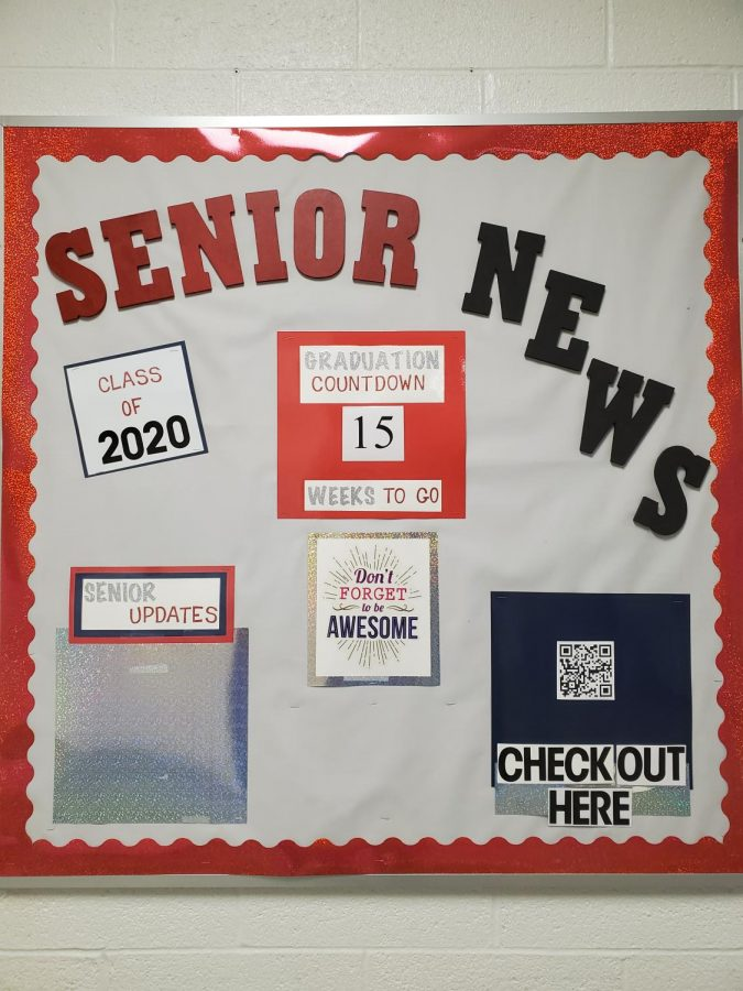 Bulletin board of Senior News for the Senior class.