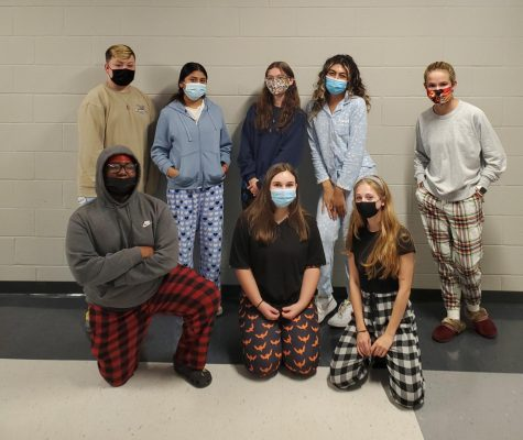 Students in Journalism I donned pajamas for the first day of Homecoming Spirit Week.